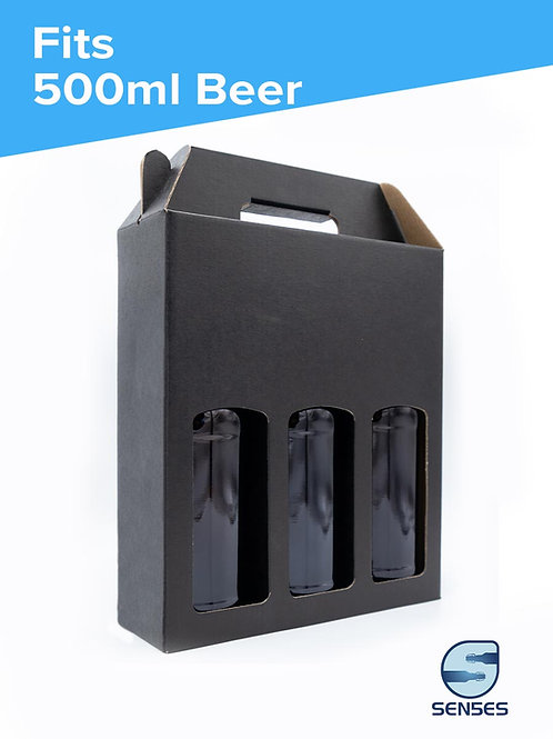 3 x 500ml Black Beer Bottle Box