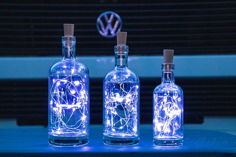 The polo bottles with fairy lights