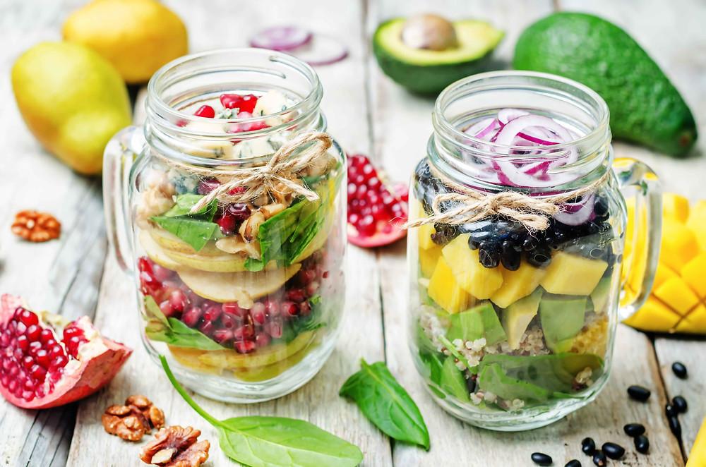 Fresh salad in a glass jar