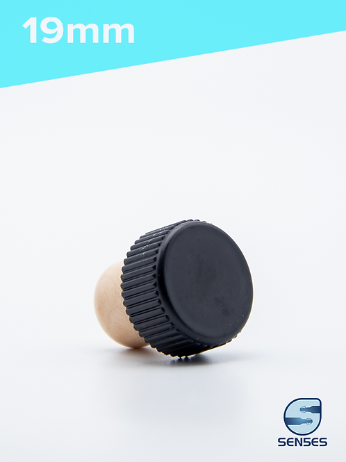 19mm Synthetic cork black plastic top angle view