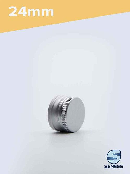 24mm silver metal screw top cap