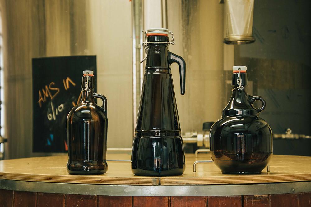 Growler beer bottles