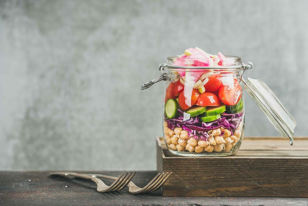 Fresh salad in a kilner jar
