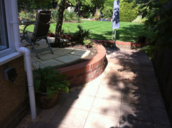 Round patio and outer wall bricks
