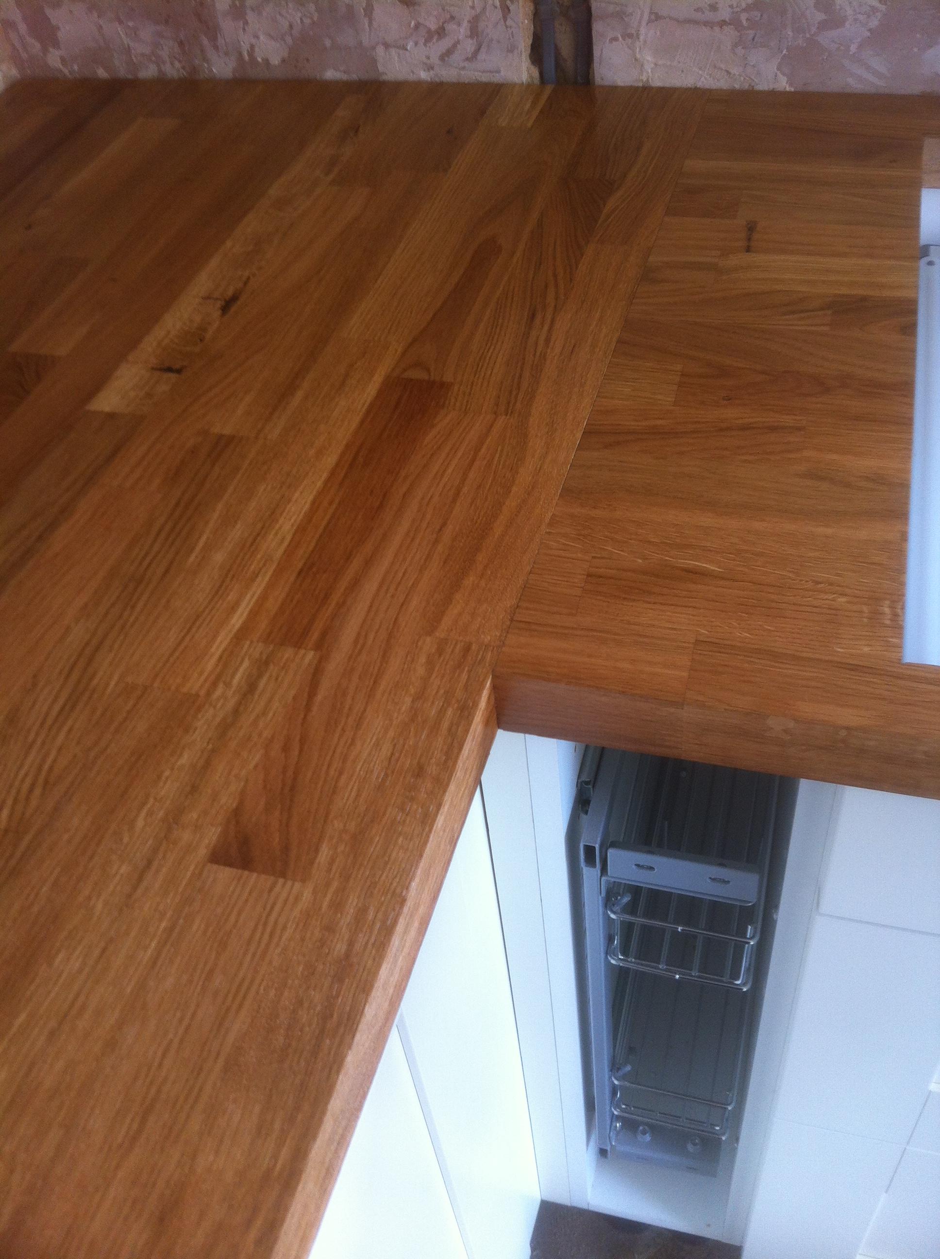 Solid Oak worktop fitting