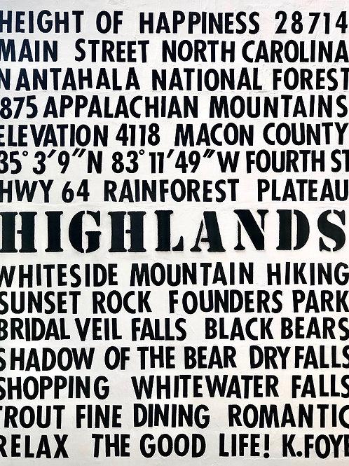 """Highlands, NC""   48 x 60   Canvas"