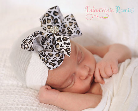LEOPARD BOW/WHITE HAT