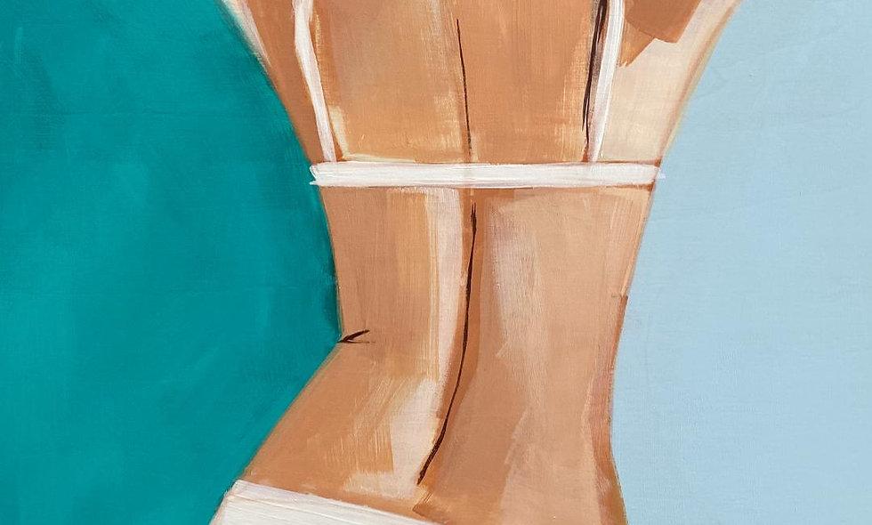 """Swimmer 4""   12 x 16   Wood Panel"