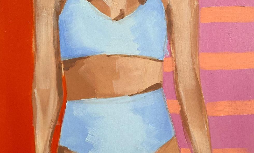 """Swimmer 1"" | 12 x 16 | Wood Panel"