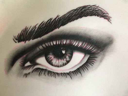 Finished eye on practice pad