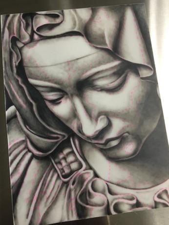 La Pieta on a practice pad