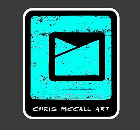 Chris McCall Art Logo Sticker Turquoise