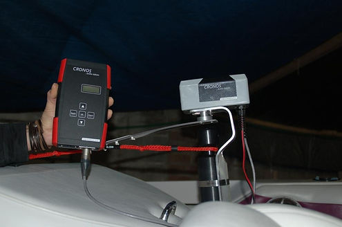 Cronos Audio Slalom signal generator attached to boat pylon