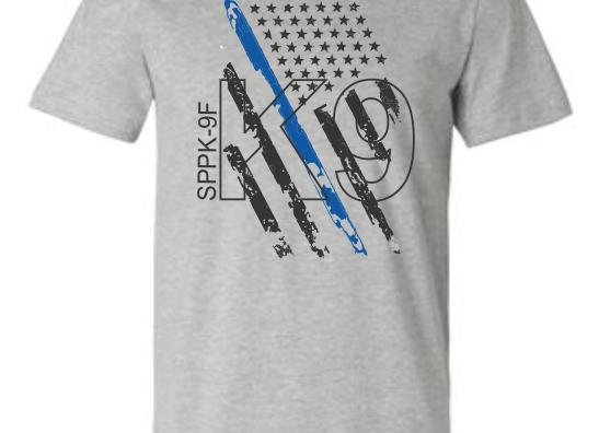 K9 Blue Line Flag T-shirt-angled