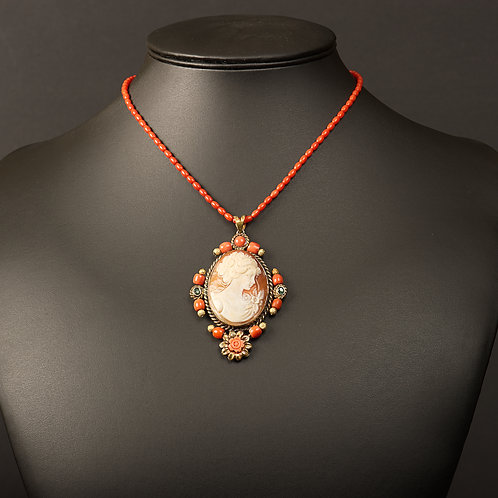 Coral necklace with cameo pendant