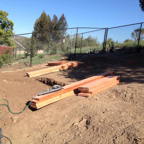 Redwood planter veggie boxes.