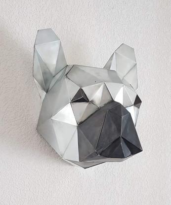 trophée tête de bouledogue francçais en zinc
