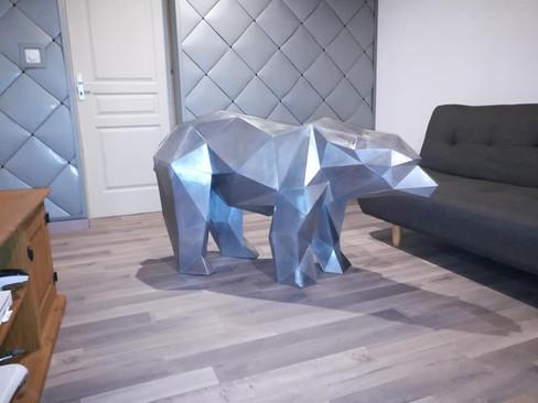 Ours origami en zinc naturel.