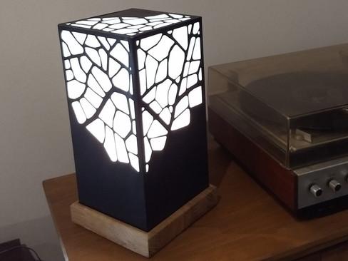 Lampe ORGANIC réalisé en zinc noir et support en chêne.