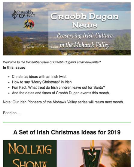 Craobh Dugan newsletter sample