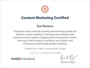 Sue Smith Romero Hubspot Content Marketing Certified