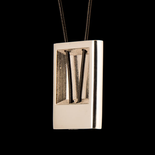 Silver Rectangular Pendant with a Leather Thread