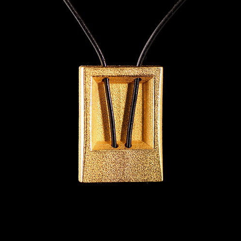 Flat Rectangular Pendant with a Leather Thread, Gold-plated Steel