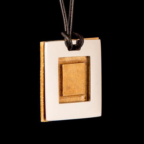 Two-Piece Square Pendant - Silver and Bronze
