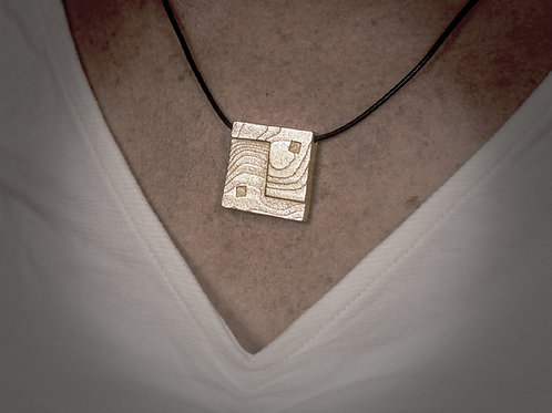 Square Yin Yang Pendant - Gold-plated Stainless Steel