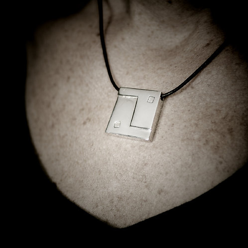 Square Yin Yang Pendant - Solid Polished Silver