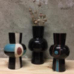 Moirai. Three vases. From the kiln. .__e