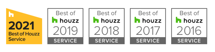 Best of Houzz Service Award for 2021, 2019, 2018, 2017, 2016