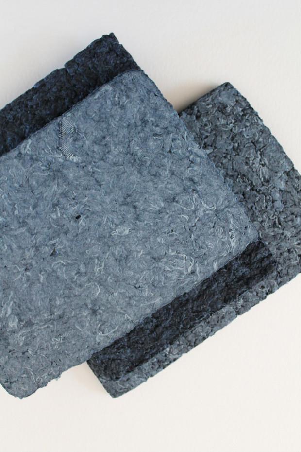 Différentes textures de dalles de jeans recyclé