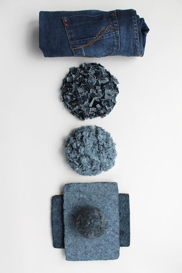 Étapes de fabrication de la matière jeans recyclés
