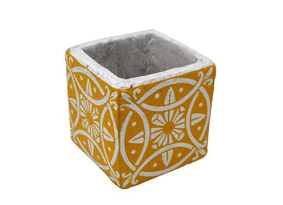Vase déco en céramique jaune 8.5 cm