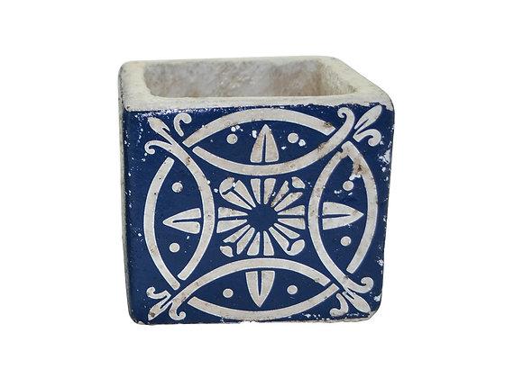 Vase déco en céramique bleu 8.5 cm
