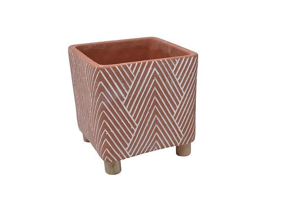 Pot  en céramique corail