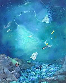 obra de arte pintura surralista onirica mundos acuaticos