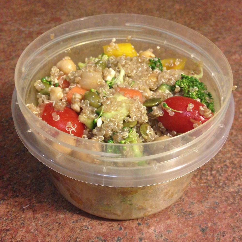 Quinoa salad portioned