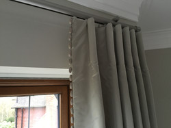 Cartridge headed curtains with trim