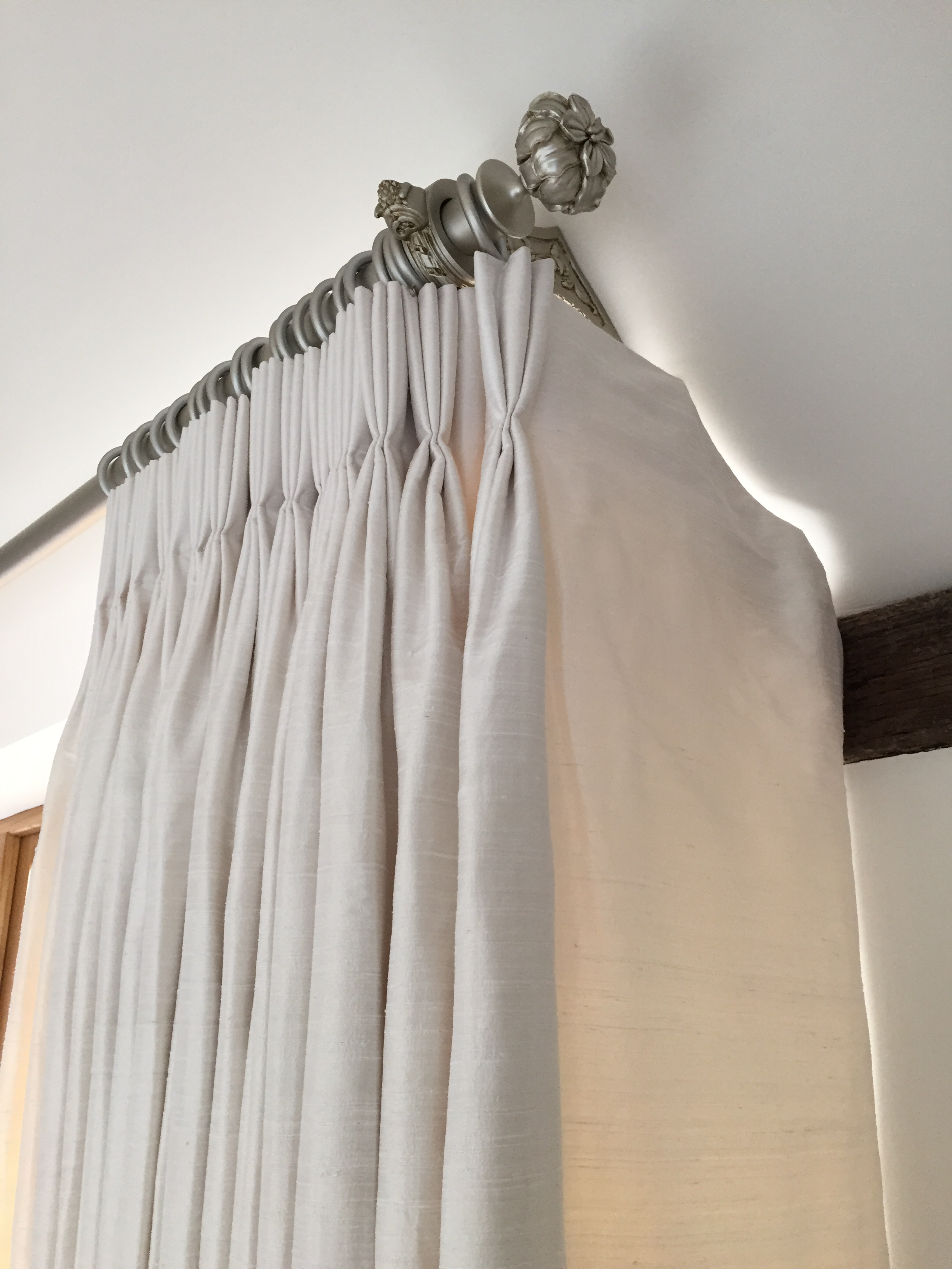 Triple pleat interlined curtains.