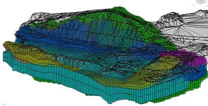 Digitální model terénu společně s geologickým modelem
