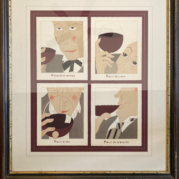"Chatom Vineyards - Framed ""Monseigneur le Vin: The Art of Drinking Wine"" Illustration $100 Starting Bid"