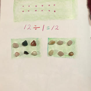 pic 5: using counters as 'seeds', divide by 2 vegie patches