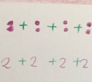 Picture 4: add up 4 sets of 2s