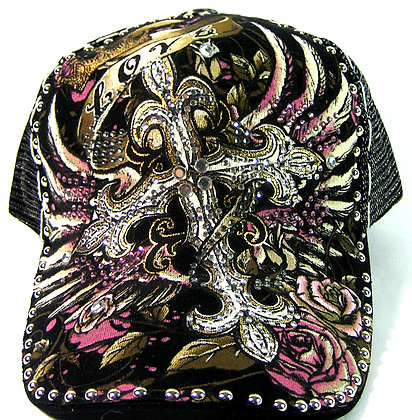 Tattoo Cross Bling Hat