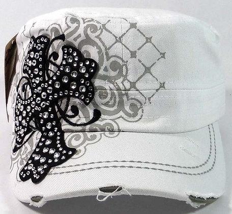 ChrisTeez Cross Bling White  Hat