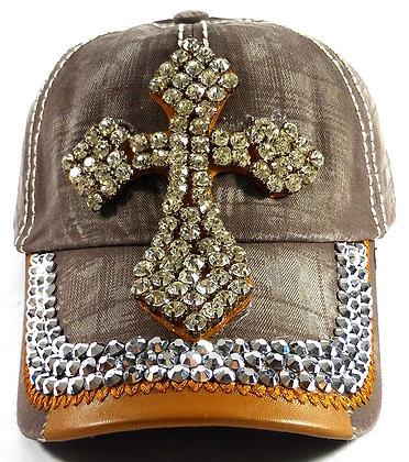 Kahki Denim Cross Bling Hat