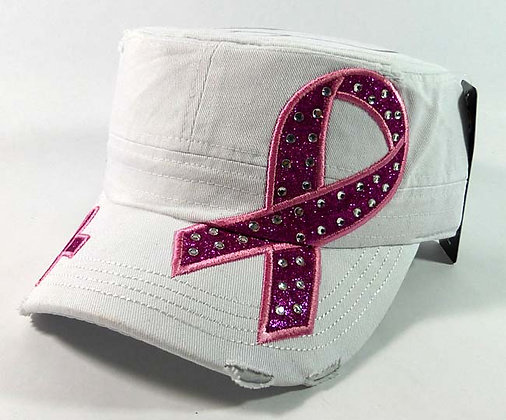 Breast Cancer Ribbon Bling Hat