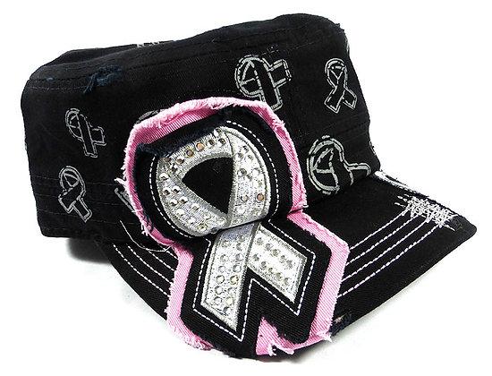 Black Breast Cancer Bling Hat